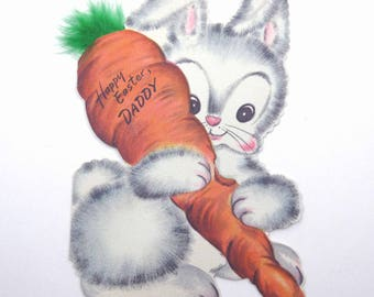 Vintage 1940s Easter Greeting Card for Daddy with Cute White Rabbit Holding a Big Carrot Feather Tip by Hallmark