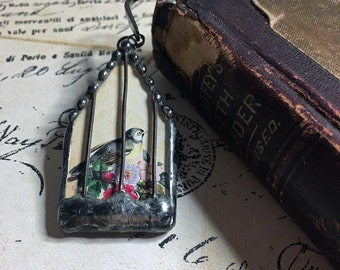 Bookmark, Soldered Art Charm, Bird Cage Pendant, Collage Charm, Soldered Bird House, Artisan Made, Birdcage, Birdhouse, Soldered Glass