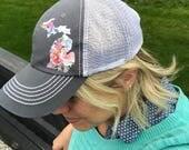 Watercolor floral Michigan  //  womens trucker hat