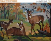 Paint By Number, Deer, Family, Doe, Buck, 10 Point Buck, Reindeer, Wall Decor, Mid Century Modern Wall Hanging