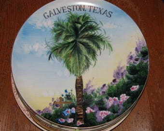 1930's Vintage Souvenir Galveston Texas Porcelain Plate, Palm Tree, Nautical Decor, Antique Artwork, retro 30's collectible Texana