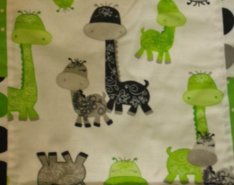 Baby Quilt - Giraffes Galore- Lime Green and Grey and Polka-Dot