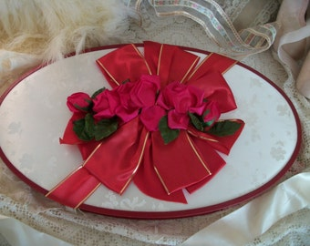 old see's candy box with fuchsia pink fabric roses, satin ribbon, all-occasion, vintage large fancy candy box, chic romantic sweetheart gift