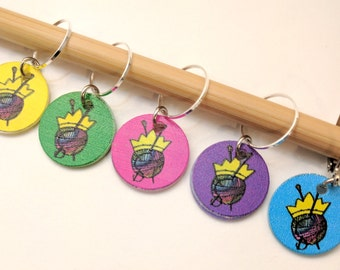 Keep Calm and Carry Yarn - Set of 5 Stitchmarkers for Knitters and Crocheters