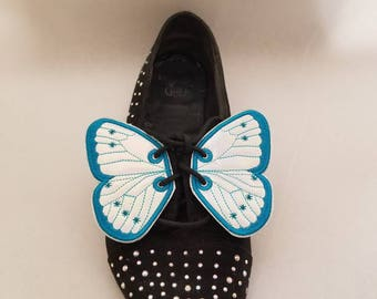 Butterfly2 shoe wings Holographic vinyl fabric, oil slick, six  color choices