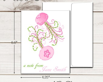 Personalized PREPPY JELLYFISH Note Cards - Set of 12 - Blank Inside with Envelopes
