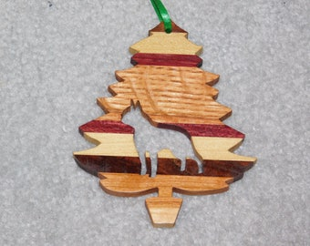 Wood Christmas Tree Dog Ornament -  Boston Terrier