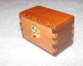 Small Wood Box for Business Cards -  Walnut and Cherry Business Card Holder/Display