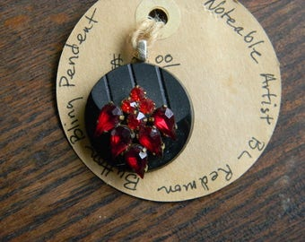 Vintage Button with Red Rhinestones Pendent Handmade