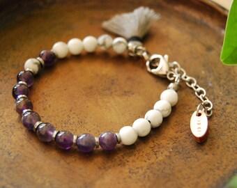 The Healer bracelet /Amethyst / mala bracelet / minimalist bracelet / howlite / hematite /silver / tassel bracelet