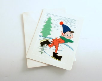 Vintage Christmas Card Pixie Ice Skating Note Card Unused
