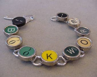Typewriter key jewelry Bracelet  Spells BOOKWORM  Rare Colors Typewriter key Bracelet