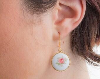 Pink Rose Limoge Earrings, Pink and White Rose Earrings,Floral Jewelry, Vintage Earrings