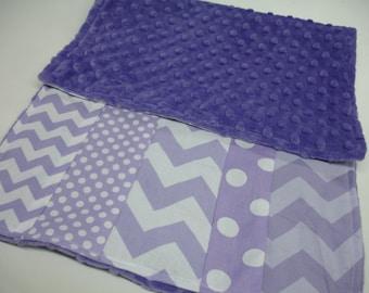 Lavender Mixed Geometrics Minky Burp Cloth 12 x 24 READY TO SHIP