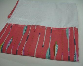 Coral Arrows Straight Crib Skirt Robert Kaufman READY TO SHIP On Sale