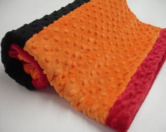 Red Black Orange Double Sided Minky Blanket 29 x 30 READY TO SHIP On Sale