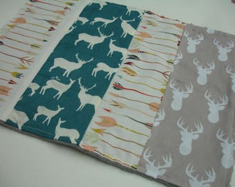 Deer and Arrows Coral Teal Navy Taupe Minky Burp Cloth  16 x 13 READY TO SHIP