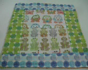 Over in the Meadow Minky Burp Cloth 12 x 13 READY TO SHIP On Sale