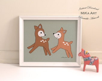 Deer Nursery Art Print Download Printable Nursery Wall Art Woodland Nursery Decor Fawns Playing Deer Friends Kids Art Cute Baby Animal Print