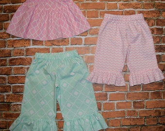 """Girls """"SHABBY CHIC HOLiDAYS"""" collection SKiRT or PANTS pink /mint green chevron / tile  in sizes 6-12-18-24 mth 2T-3-4-5-6-7-8"""