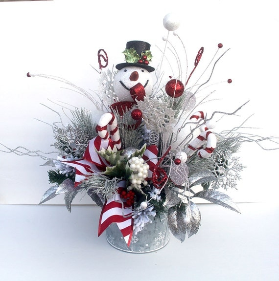 Christmas table centerpiece snowman décor large by