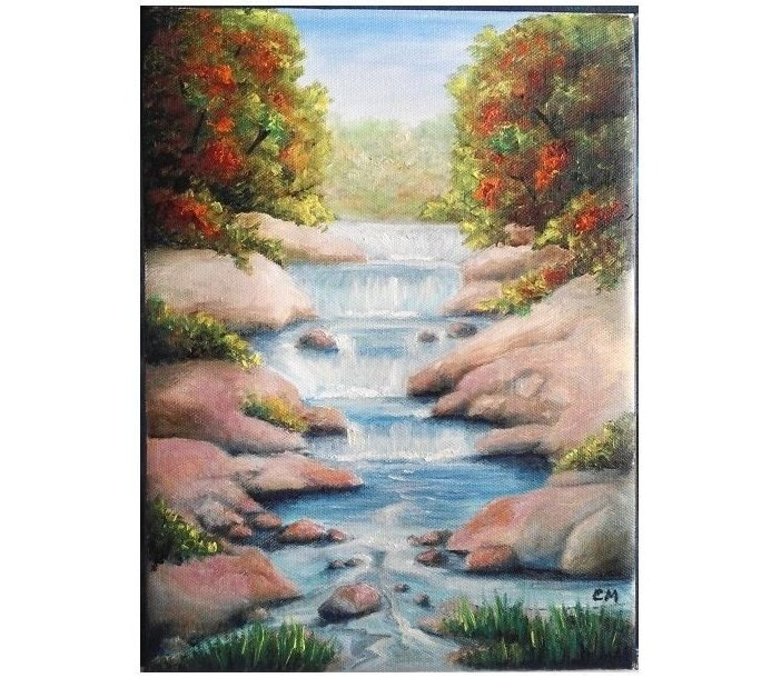 Oil Painting Fall Waterfall 8x 11 Ready To Ship