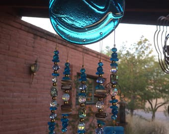 Windchime Whale Blue Stained Glass