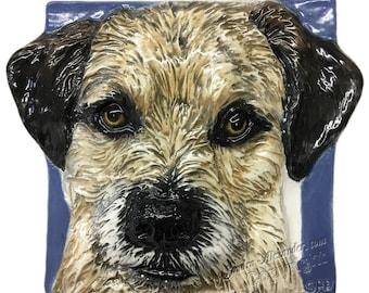 Border Terrier CERAMIC Portrait Sculpture 3D Dog Art Tile Plaque FUNCTIONAL ART by Sondra Alexander In Stock