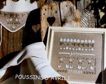 Cross Stitch Kit, Poussins D' Avril, Embroidery Kit by Picoti Picota, Chicks of April FN, Birth Sampler and Bib