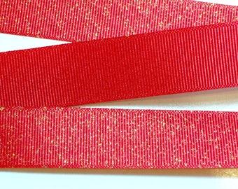 Red Ribbon,  Red Glitter Grosgrain Ribbon 7/8 inch wide x 25 yards, Offray Glitter Grosgrain Ribbon