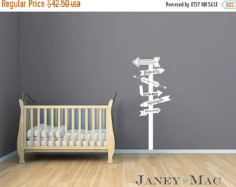 ON SALE Fairy Tale Wall Decal Sign Post Modern Arrows Vinyl Sticker- Fantasy Land Wall Decor - Harry Potter Never Land Narnia Fairytale - CN
