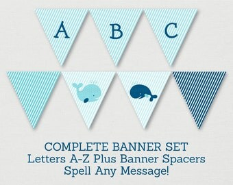 Whale Baby Shower Banner / Whale Baby Shower / Nautical Baby Shower / Navy & Aqua / Letters A-Z / DIY Pennant Banner / INSTANT DOWNLOAD A160
