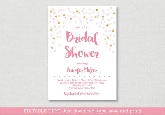 Blush pink gold bridal shower invitation glitter bridal shower il570xn filmwisefo