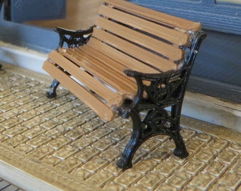 KIT Park Bench kit printed in 3D printed in Black with wood looking brown Quarter Scale 1:48 MC018