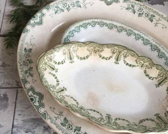 Vintage Green Transferware Serving Dish - J H W & Sons Hanley Imperial
