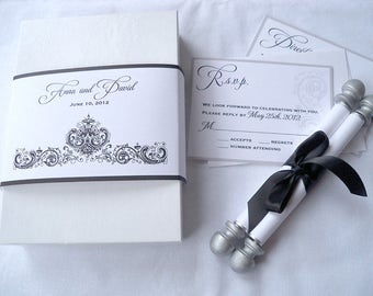 Black and white traditional wedding invitation suite, boxed suite with scroll and reply cards and extra inserts, set of 25