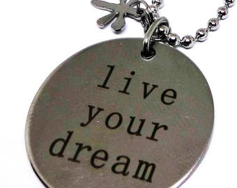 """316L Stainless Steel Affirmation Pendant Necklace with 316L Stainless Dragon Fy Charm, 18"""" Stainless Steel Chain, Inspirational Jewelry"""