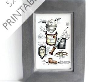Printable Scripture Art- Spiritual Armor - Scripture Art - 5x7 Ephesians 6 Prayer