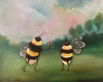 Bee Sweet Oil on Wood Painting