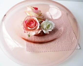 Pink Depression Glass Serving Bowl Rolled Edge - Elegant Decor