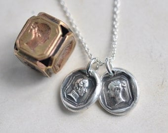 Victoria and Albert wax seal charm necklace - Queen Victoria pendant or Prince Albert pendant - silver antique Victorian wax seal jewelry