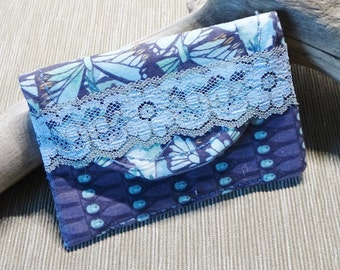 Business Card Case, Credit Card Purse, Gray & Blue Butterfly Fabric, Business Card Wallet, Cloth Case,Credit Card Case, Small Purse