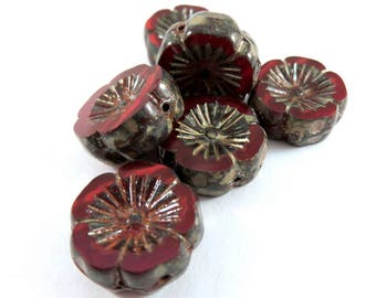 6 Red Czech Flower Bead Glass Picasso Opalite Hibiscus Flower Transparent 14mm - 6 pc - G6056-ROP6