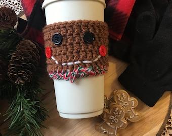 Gingerbread Man Crochet Coffee Cozy