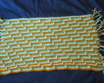 Cute Large Green, Gold and Yelllow Yarn Doily Christmas Housewarming Birthday Gift Present