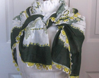 summer scarf with crochet edge . cotton scarf . crochet edge . made in Turkey. green and yellow floral scarf