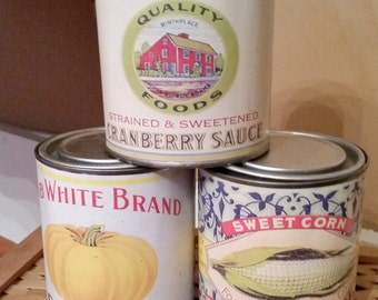 Vintage Vegetable and Berry Cans -  Rustic Home decoration Set of 3