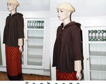 Vintage 90's grunge coat, brown grunge jacket, babydoll jacket, stretch cotton jersey, draped, hooded top, yoga hoodie, three quarter sleeve