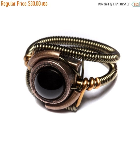 SALE 25% OFF - Steampunk Jewelry - Ring - Black Onyx