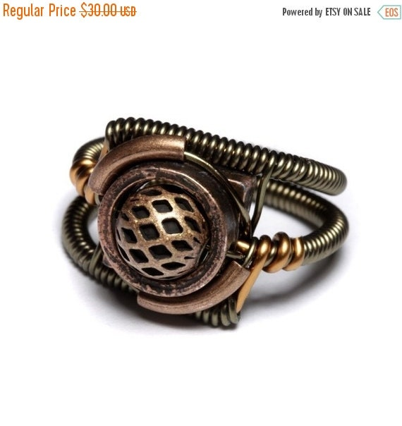 SALE 25% OFF - Steampunk Jewelry - RING - Copper